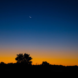 Good Morning Moon by Anthony Stark - Novices Only Landscapes ( anthony stark, moon, lincoln, novice, ne, good morning moon, amateur, sunrise, digital photography, nebraska, photography )