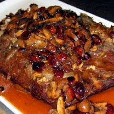 Brisket With Portabella Mushrooms and Dried Cranberries