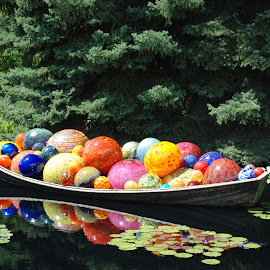 Boat at Botanic Gardens by Debby Campbell - Artistic Objects Glass ( water, color, glass, artistic objects, boat )
