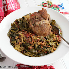 Slow Cooker Pork, Collard Green and Blacked-Eyed Peas