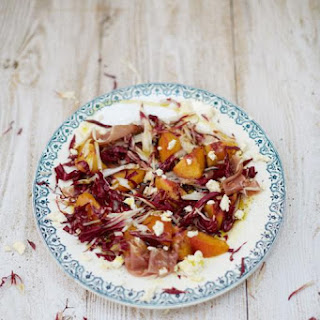 Grilled peach salad with Parma ham & Colwick cheese