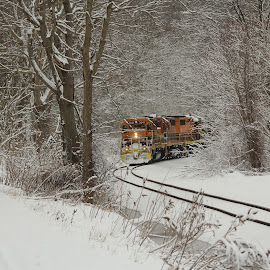 snowy Train by Jackie McCorkle Tepe - Transportation Trains