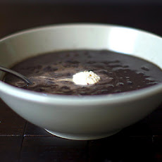 Black Bean Soup with Chipotle and Toasted Cumin Seed Crème Fraîche