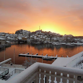 Sunset by Anneriek Barree - City,  Street & Park  Skylines ( kragerø sunset winter fjord norway morning  munch solen snow )