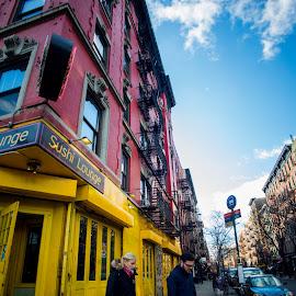 by Rico Eche - City,  Street & Park  Street Scenes ( red, blue, street )