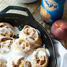 Peach Skillet Cinnamon Roll