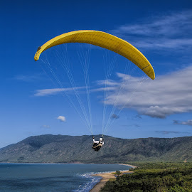 into the blue by Vibeke Friis - Sports & Fitness Other Sports ( blue, lookout, cliff, yellow, hang glider,  )