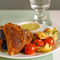Lamb Chops with Pistachio Sauce and Vegetable Saute