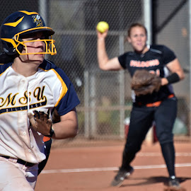 Beat the Throw to First by Steven Aicinena - Sports & Fitness Other Sports ( softball )