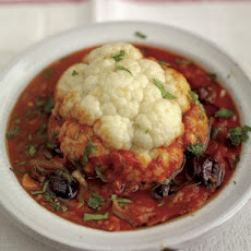 Whole Baked Cauliflower With Tomato & Olive Sauce