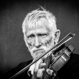 Sad Music  by Amro Labib - People Portraits of Men ( expression, exposure, face, natural light, old, sadness, black and white, sad, brisbane, street, people, eyes, pose, musician, man, black, music, look, white, fun, posing, portrait, emotion, street photography, australia, day, daylight )