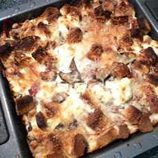 Goat Cheese and Prosciutto Savory Bread Pudding