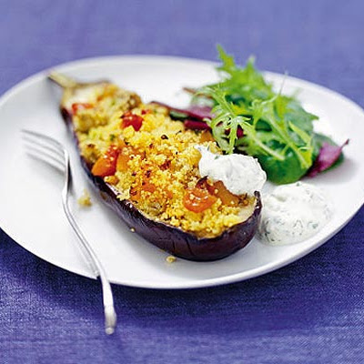 Baked Aubergines With Coriander Yogurt Dressing