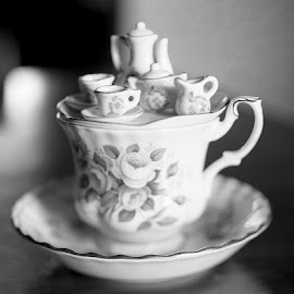 The Tea Party by Marie Teemant - Artistic Objects Cups, Plates & Utensils ( black and white, tea cup, miniature )