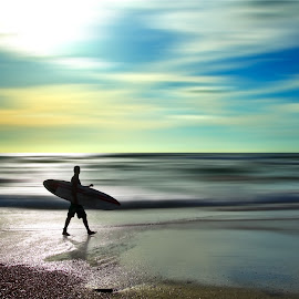 S for surfer  by Josh Adamski - Sports & Fitness Surfing ( clouds, josh adamski, sky, surfer, colors, waves, sea, light )