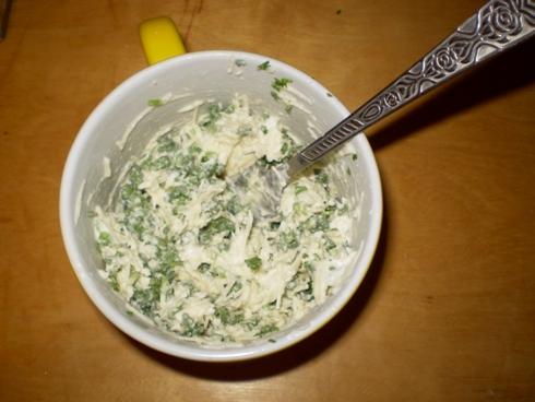Sumaišytas sūris, grietinėlė, petražolės