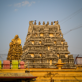 The modern Kamakshi Devi Temple at Kanchi by Pugalenthi Iniabarathi - Buildings & Architecture Public & Historical ( temples, pugalenthi, kanchipuram, architecture, photography, sculpture, templesofindia, kanchi, facebook, tradition, pugal, big, culture, tamilnadu )