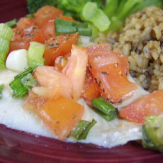 Baked Flounder Fillets With Scallions & Chopped Tomato