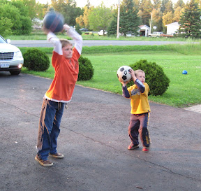 BigE and Eric playing basketball