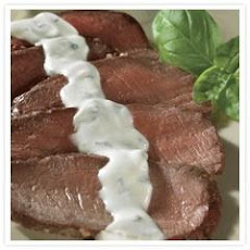 Grilled Steak With Creamy Herbed Goat Cheese Sauce