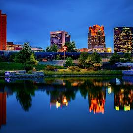 Birmingham Skyline by Scott Cobb - City,  Street & Park  Skylines ( water, reflection, blue hour, birmingham, night, alabama )