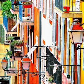Maison dans les rues Nice by Bertrand Lavoie - City,  Street & Park  Street Scenes ( maison, rue, nice )