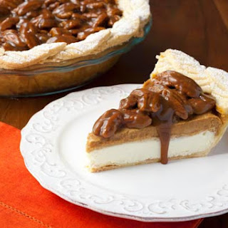 Pumpkin Cream Cheese Pie with Bourbon Pecan Caramel Sauce