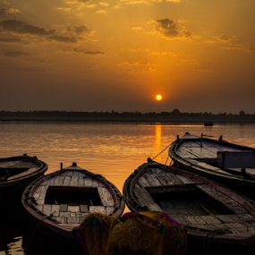 Morning in Varanasi by Akash Dubey - Transportation Boats ( kashi, subah e banaras, benaras, varanasi, morning )