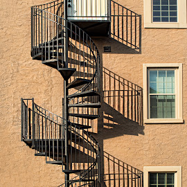 Shadow staircase by Becky Kempf - Buildings & Architecture Architectural Detail ( building, staircase, windows, shadows, Urban, City, Lifestyle )