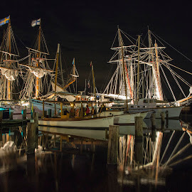 lighting up the down rigging by Deborah Felmey - Transportation Boats ( calm, lights, tall ships, boats, reflections, water, device, transportation )