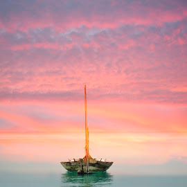 by Bente Agerup - Transportation Boats ( water, nature, sunset, boats, sea )