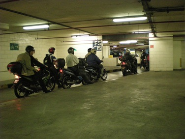 Queuing for entry to bike parking in KLCC this morning