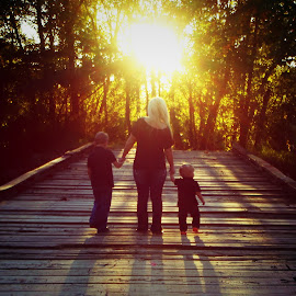 INTO THE LIGHT by Rena Spitzley - People Family ( love, family, sunset, beautiful, walkway, vertical lines, pwc )