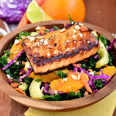 Asian Kale & Salmon Salad