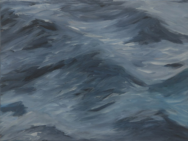 Grey Waves <br> Acrylic paint on canvas <br>  12 x 16 in