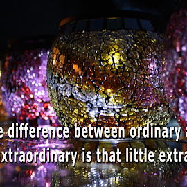 The Difference by Laura Gardner - Typography Captioned Photos ( reflection, solar lights, color, nd, dark, still, objects, outside, rain )