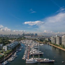 Quay side and Singapore Skyline by Wim Swyzen - City,  Street & Park  Skylines ( clouds, golf course, blue sky, sky, south-china sea, sentosa island, asia, sentosa cove, ocean front, yachts, quay side )
