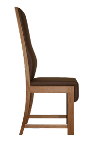 Side View of a Leather Upholstered Dining Chair in American Black Walnut