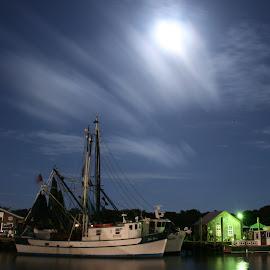 Miss Paula at night by Tara Tarvin - Transportation Boats ( super moon, shrimp, creek, shem creek, shrimp boat, miss paula, boat, south carolina, nightscape )
