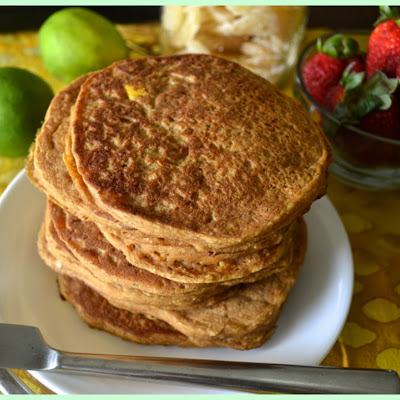 Sugar- & Oil-Free Mango Lime Pancakes with Ginger & Coconut
