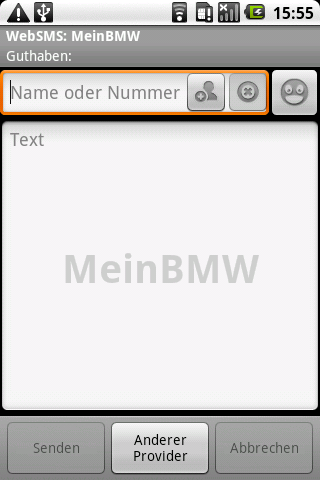 WebSMS: MeinBMW Connector