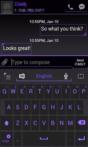 GO Keyboard ICS Purple Skin