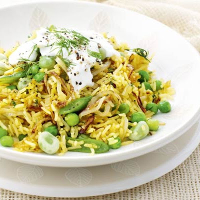 Bean & Dill Pilaf With Garlicky Yogurt