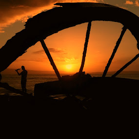 Wagon Wheel Sunset by Jackson Visser - Landscapes Sunsets & Sunrises ( orange, sky, wheel, silhouette, sunset, majestic, beautiful, south africa, wagon, western cape,  )