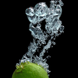 Lime splashing by Sorin Petculescu - Food & Drink Fruits & Vegetables ( water, fruit, splash, fresh, fruite splash photography, green, food, eat )