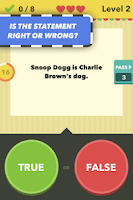 Screenshot of True or False - Test Your Wits
