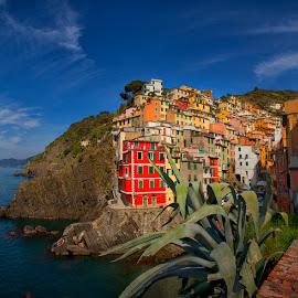 Riomagiorre,Italy by Petros Sofikitis - Landscapes Travel ( cinque terre, sky, village, colors, sea, italy )
