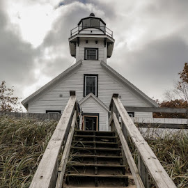 Old Mission Peninsula Lighthouse by Dave Harrell - Buildings & Architecture Other Exteriors ( history, michigan, lighthouse, great lakes, nautical,  )