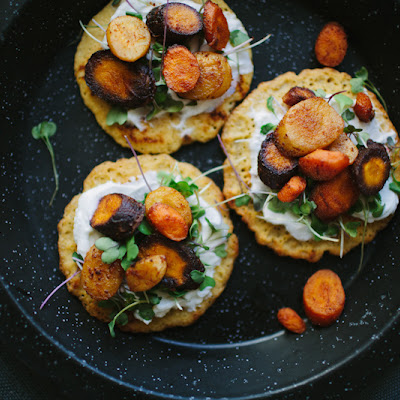 SAVORY CHICKPEA PANCAKES WITH SMOKY ROASTED CARROTS