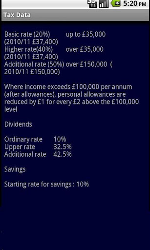 UK Tax data